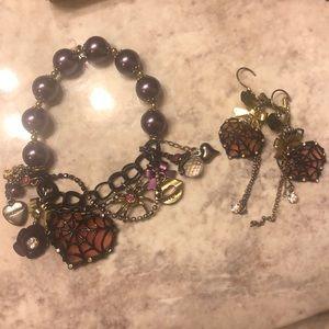 Betsey Johnson Halloween bracelet & earrings set